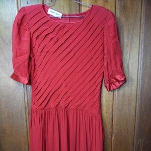 Albert Nipon Womens Red Evening Cocktail Dress